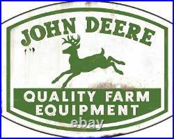 John Deere Quality Farm Equipment 36 Heavy Duty USA Made Metal Advertising Sign