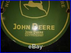 John Deere Quality Farm Equipment Porcelain Enamel Sign 12 X 12