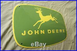 John Deere Schild Enamel sign Emailschild ECHTE Emaille 38 x 58 cm