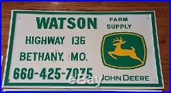 John Deere Sign Bethany Missouri Watson Farm Supply Vintage Plastic Embossed