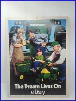 John Deere The Dream Lives On Cardbord Sign Advertisement Vintage Original New
