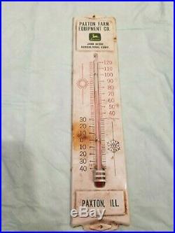 John Deere Thermometer Paxton Illinois Farm Sign Tractor Vintage Original old