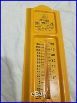 John Deere Thermometer Schoen Equip Monell Farm Sign Tractor Vintage Original