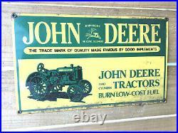 John Deere Tractors Porcelain Metal Sign Gas Oil Farm Equipment