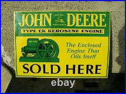 John Deere Type EK Kerosene Engine Embossed Metal Sign New