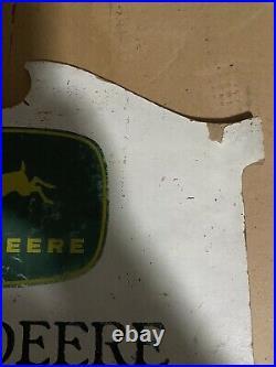 John Deere Vintage Wooden Dealer Sign 1940s-50s Four Legged Deer Logo