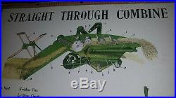 John Deere sign Straight Thru combine & plow Diagram poster chart Tractor vtg