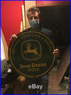 John deere gas tire beer motor gasoline oil dealer porcelain sign MAKE AN OFFER