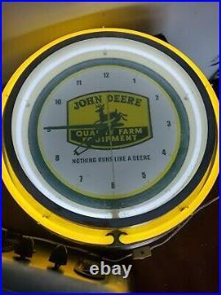 John deere lighted sign clock