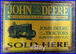 John deere sold here porcelain sign