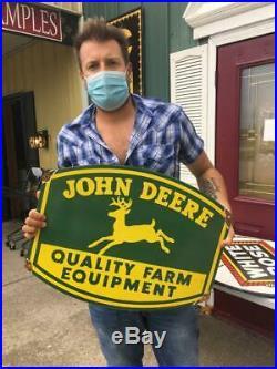 John deere tire beer motor gasoline oil dealer porcelain sign MAKE AN OFFER! 2