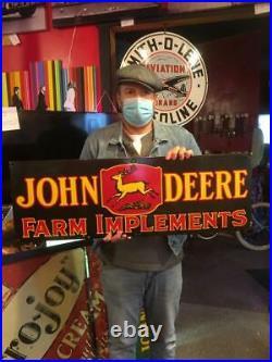 John deere tire beer motor gasoline oil dealer porcelain sign MAKE AN OFFER 9