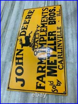 Johndeere Quality Farm Implements 24x12 Inches Porcelain Enamel Sign Single Side