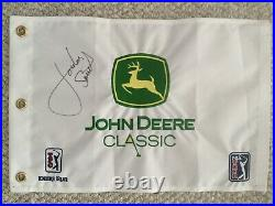 Jordan Spieth Signed Flag John Deere Classic First Pga Tour Win Full Signature