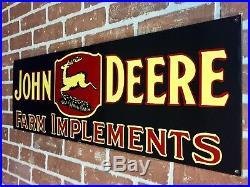 LARGE JOHN DEERE PORCELAIN DEALERSHIP SIGN. 32x12 Size. Great Quality Item
