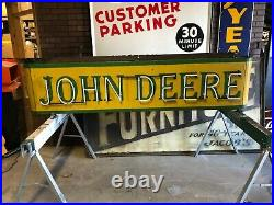 LQQK! Vintage JD JOHN DEERE Sign Old Tractor DOUBLE SIDED NEON farm AG Equipment