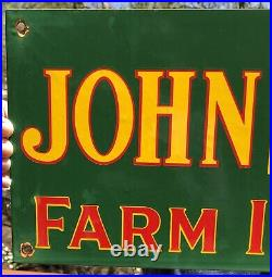 Large 1950's Vintage John Deere Farm Implement Tractor Porcelain Enamel Sign