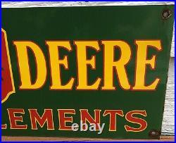 Large 1955 Dated Vintage John Deere Farm Implement Tractor Porcelain Sign