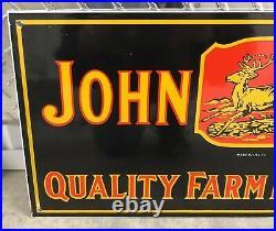 Large 24 John Deere Dated 1934 Quality Farming Implements Porcelain Sign