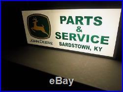 Large Original John Deer Parts & Service Lighted Dealership Sign
