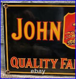 Large Vintage 1934 Dated John Deere Farm Implement Tractor 24 Porcelain Sign