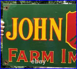 Large Vintage 1955 Dated John Deere Farm Implement Tractor Porcelain Enamel Sign