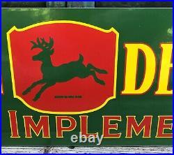 Large Vintage John Deere Quality Farm Implements Porcelain Enamel Sign