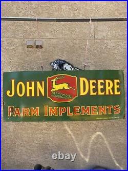Large Vintage Porcelain John Deere Farm 60 X 24 Sign Garage Shop