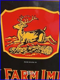 Large Vintage''john Deere'' Porcelain Advertising Sign 10.5x24 Inch USA 34