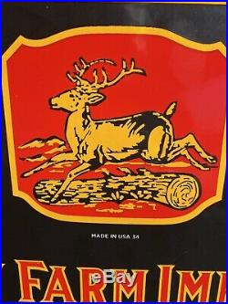 Large Vintage''john Deere'' Porcelian Advertizing Sign 10.5x24 Inch USA 34