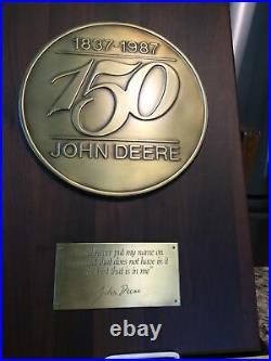Limited Edition 1987 John Deere 150th (1837-1987) Dealer Brass/Wood Wall Plaque