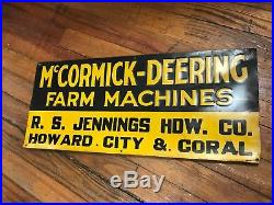 McCormick Deering Farm Machines John Deere Equipment Sign Howard City Coral MI