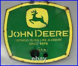 Metal John Deere Tractor Sign Gas Oil Garage Vintage
