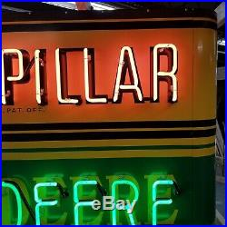 New John Deere/Caterpillar Painted Enamel Sign with Bullnose & Neon 72W x 48H