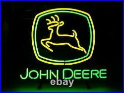 New Neon Sign JOHN DEERE Real Glass Tube Bar Club beer 17''X14'
