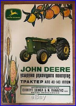 ORIGINAL VINTAGE GREEK GREECE LARGE TIN SIGN ADVERT JOHN DEERE TRACTORS 1960s