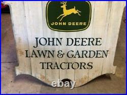 ORIGINAL Vintage JOHN DEERE LAWN & GARDEN TRACTORS Sign with HANGER JD Old Farm