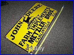 Old JOHN DEERE Farm Implements Porcelain Sign Advertising Early 1900's NICE
