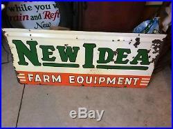 Old Original 1953 New Idea Farm Equipment Tractor Advertising Sign Deere Case