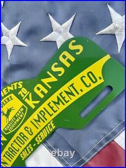 Old Rare John Deere iH PORCELAIN SIGN oil gas gasoline License Plate