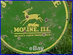 Old Vintage 1950's John Deere Porcelain Enamel Sign Farm Tractor Moline ILL