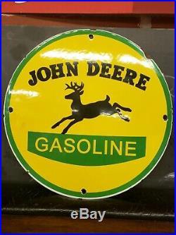 Old Vintage 1950s John Deere Gasoline Motor Oil Porcelain Gas Pump Sign Station