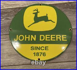 Old Vintage Green John Deere Porcelain Enamel Metal Sign Farm Tractor Farming