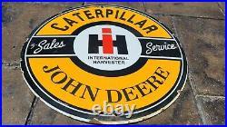 Old Vintage John Deere Caterpillar Tractor Porcelain Gas Pump Sign Fuel Station