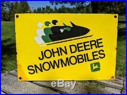 Old Vintage John Deere Snowmobile Porcelain Enamel Dealership Sign