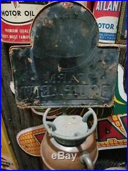 Old vintage John Deere Farm Equipment metal sign gas station barn tractor