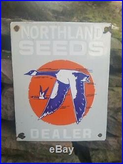 Old vintage original porcelain Northland seed sign gas station farm barn RARE