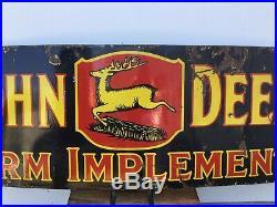 Original 1920s/30s 72 Porcelain JOHN DEERE 3-leg Farm SSP Sign HOLY GRAIL