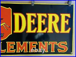 Original 1930s Large John Deere Farm Implements Porcelain Dealership Sign