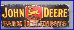 Original 3 Leg John Deere Porcelain Sign 72 X 24